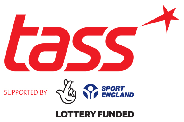 the red TASS logo with words 'supported by the National Lottery and Sport England