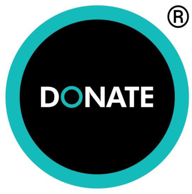 Text Donate logo in black, white and turquoise
